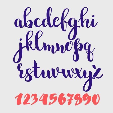 stile: stile Brush Script Vector alfabeto calligrafia basso caso lettere e cifre. stile del pennello lettera decorativo grafica. Vettoriali