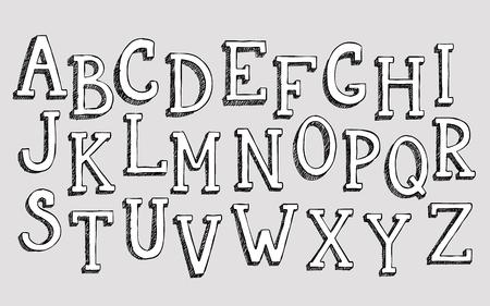 ni�os con l�pices: Garabatos 3d alfabeto, las letras dibujadas a mano simples vector de textura con garabatos l�piz. Fuente decorativa de libros, carteles, tarjetas postales, mano dibujada web tipograf�a estilo. Vectores