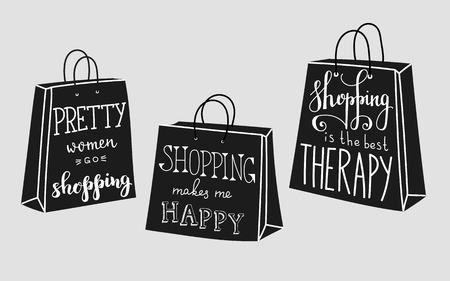 store: Donne graziose fare shopping. Shopping mi rende felice. Lo shopping è la migliore terapia. Lettering sulla forma del sacchetto di acquisto. Vector citazione sullo shopping. Cartolina o poster design grafico. Nero vendita venerdì.