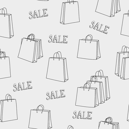 paper graphic: Sale shopping bags seamless pattern. For retail promotion graphic design. Black friday season sale. For poster, postcard, wrapping paper design.