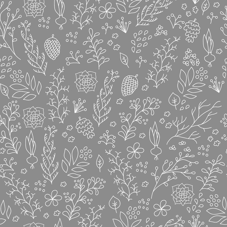 autum: Hand drawn flowers plants seamless pattern. Cute, vector plants for postcard and poster graphic design. Grandma style plant herbs pattern for textile, wrapping paper, hand drawn style backgrounds.
