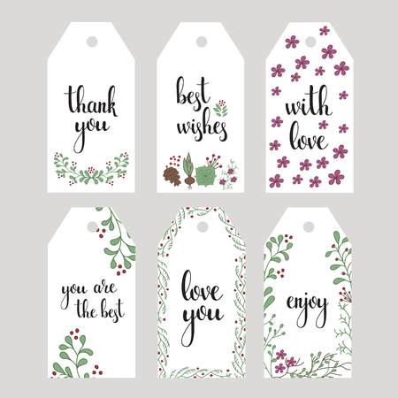 you are welcome: Vector hand written calligraphy style short messages set. Lettering thank you, love you, with love, best wishes, enjoy. Design elements for postcard or poster typography. Illustration