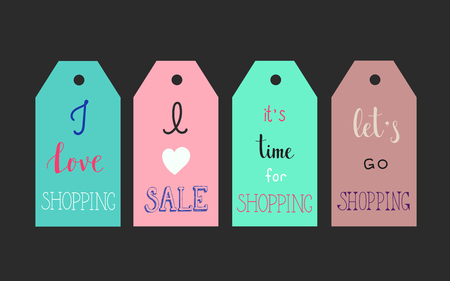 I love shopping. I love sale. It's time for shopping. Let's go shopping. Lettering on labels. Vector quote about shopping. Postcard or poster graphic design. Black Friday sale.