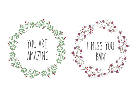 i miss you: Hand drawn flowers wreath. Cute, colorful vector winter flowers for postcard and poster modern design. Flower calligraphy, hand drawn style backgrounds. You are amazing, I miss you lettering wreath. Illustration