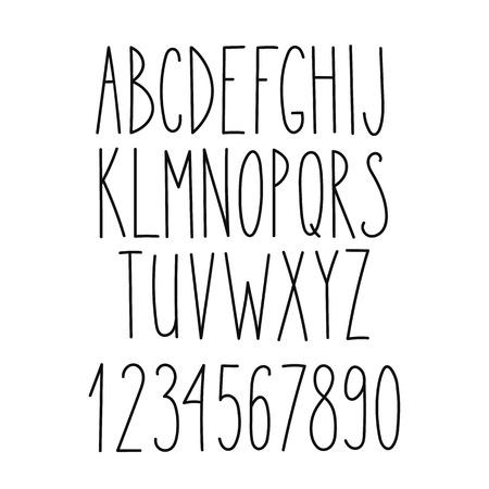낙서 알파벳, 벡터 간단한 손 얇은 산 리프 마커 글꼴 문자를 그려. 책, 포스터, 엽서 장식 글꼴은 웹 손 스타일의 타이포그래피를 그려.