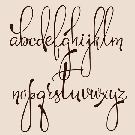 Handwritten pointed pen ink style dacorative calligraphy cursive font. Calligraphy alphabet. Cute calligraphy letters. Isolated letter elements. Typography, decorative graphic design.