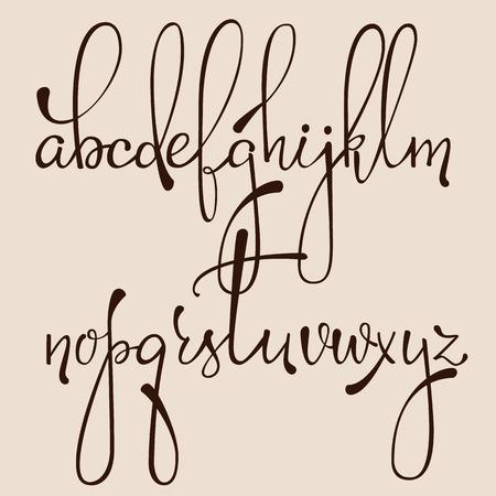 encre: Handwritten style stylo encre pointue calligraphie dacorative police cursive. Calligraphie alphabet. lettres de calligraphie Mignon. éléments de lettres isolées. Typographie, conception graphique décoratif. Illustration