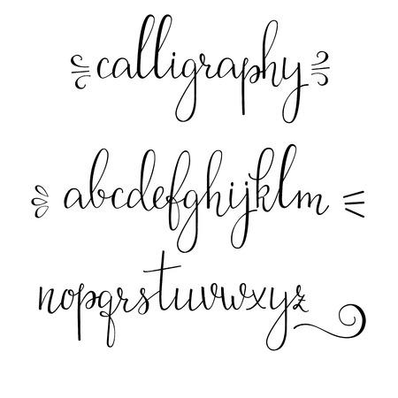 Assez Style Brush Script Vecteur Alphabet Calligraphie Des Lettres Bas  ZZ03