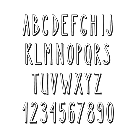 Doodle narrow alphabet, vector simple hand drawn letters thin san serif narrow 3d font. Decorative font for books, posters, postcard, web hand drawn style typography.