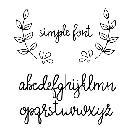 Simple handwritten pointed pen calligraphy cursive font. Calligraphy alphabet. Cute calligraphy letters. Isolated letters. Typography, decorative graphic design. Ilustração