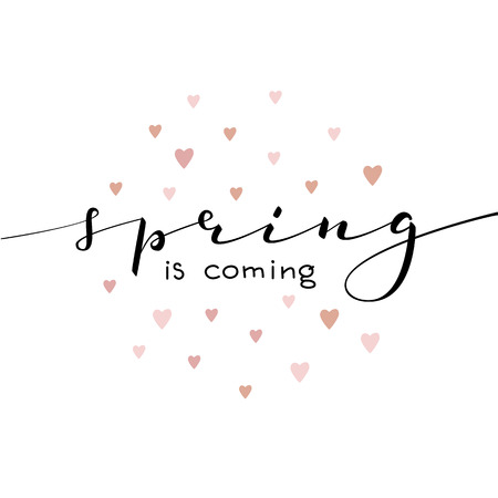 Spring is coming lettering. Calligraphy spring postcard or poster graphic design lettering element. Hand written calligraphy style spring postcard. Spring is coming. Simple vector point calligraphy. Stock Illustratie