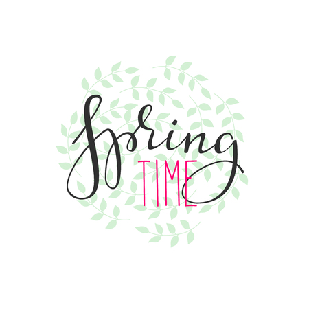 Spring time lettering. Calligraphy winter postcard or poster graphic design lettering element. Hand written calligraphy style spring postcard. Spring time. Cute simple vector brush calligraphy. Vectores