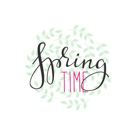 Spring time lettering. Calligraphy winter postcard or poster graphic design lettering element. Hand written calligraphy style spring postcard. Spring time. Cute simple vector brush calligraphy. Stock Illustratie
