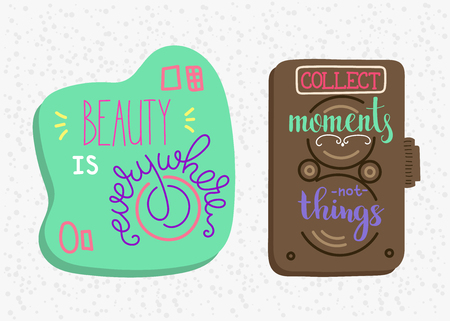 moments: Vector photography lettering on photo camera shape set. Calligraphy style quote about photo. Beauty is everywhere. Collect moments not things. Inspiration motivation for fotographer. Postcard design. Illustration
