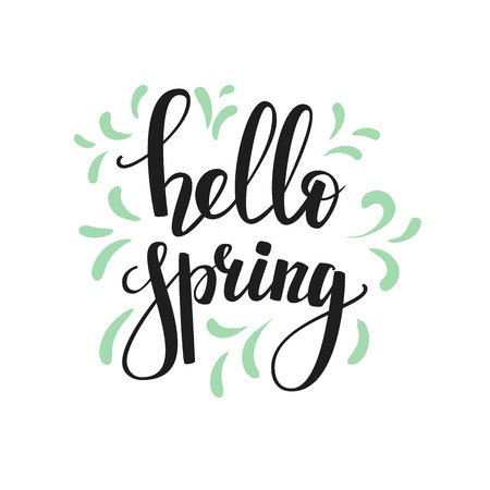Hello spring lettering. Calligraphy winter postcard or poster graphic design lettering element. Hand written calligraphy style spring postcard. Hello spring. Simple vector brush calligraphy. 向量圖像