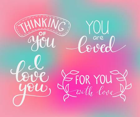 romantic love: Romantic Valentines day lettering set color background. Calligraphy postcard or poster graphic design lettering element. Hand written calligraphy style valentines day romantic postcard. I love you Illustration