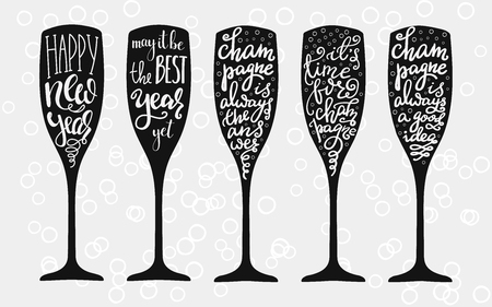Champagne Christmas or Wedding calligraphy big set on champagne glass shape isolated vector typography elements. Happy new year. Champagne party motivation. 向量圖像