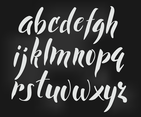 Brush style vector alphabet calligraphy low case letters cursive font. Calligraphy alphabet. Cute calligraphy letters. For expressive brush retro style lettering design. Isolated letter elements