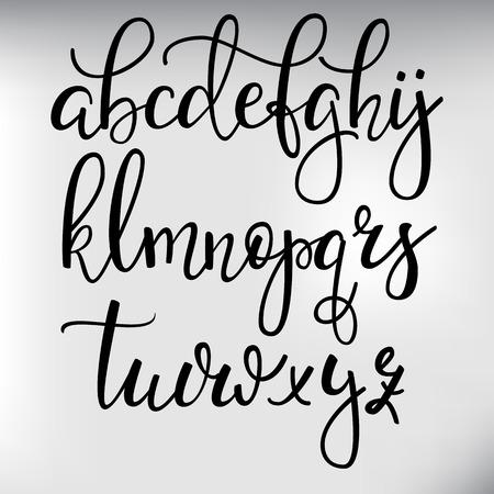 abecedario: Estilo de pincel manuscrita moderna fuente cursiva caligrafía con florituras. Alfabeto caligrafía. Letras de caligrafía lindos. Para postal o poster diseño gráfico decorativo. Elementos de letras aisladas.