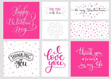 Románticas de San Valentín conjunto día las letras y los fondos del color. postal de la caligrafía o un cartel elemento de diseño gráfico letras. estilo de la caligrafía manuscrita Día de San Valentín postal romántica. Te amo. Ilustración de vector