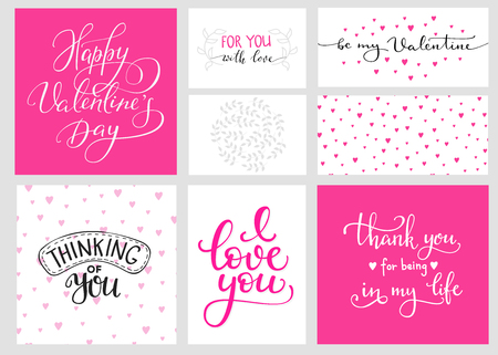 Romantic Valentines day lettering set and color backgrounds. Calligraphy postcard or poster graphic design lettering element. Hand written calligraphy style valentines day romantic postcard. Love you. Vectores