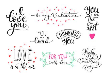 浪漫: 浪漫的情人節刻字設置。書法明信片或海報平面設計刻字元素。手寫的書法風格情人節的浪漫明信片。愛你。做我的情人
