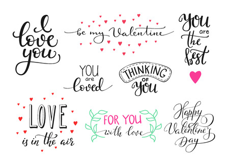 Romantic Valentines day lettering set. Calligraphy postcard or poster graphic design lettering element. Hand written calligraphy style valentines day romantic postcard. Love you. Be my Valentine Vectores