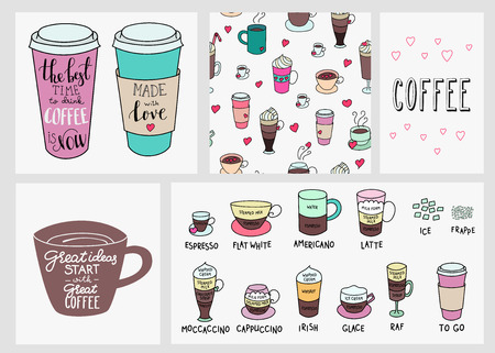 coffee beans background: Big coffee shop set. Quote lettering on coffee cup shape set. Calligraphy style coffee quote. Coffee shop promotion motivation. Coffee background. Coffeee types. Made with love. Illustration