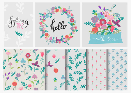 Hand drawn flowers set, wreath and flowers seamless pattern. Cute, colorful vector flowers for postcard and poster modern design. Spring or summer flower calligraphy, hand drawn style backgrounds. Ilustração