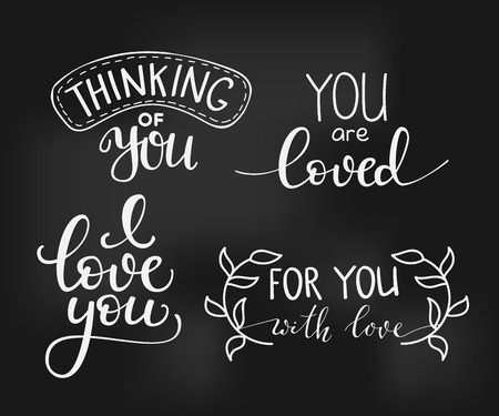 Romantic Valentines day lettering set. Calligraphy postcard or poster graphic design lettering element. Hand written calligraphy style valentines day romantic postcard. Love you. Thinking of you. Vectores