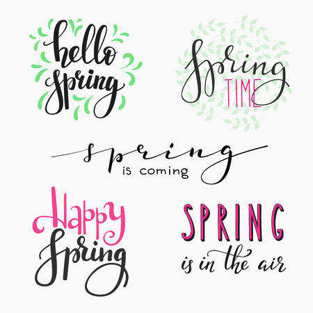 spring season: Hello spring lettering typography set. Calligraphy spring postcard or poster graphic design lettering element. Hand written calligraphy style spring postcard. Simple vector brush calligraphy.