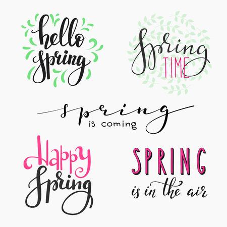 Witam wiosny Napis typografia zestawu. Kaligrafia wiosna pocztówki lub plakat projekt graficzny napis elementem. Ręcznie napisane w stylu kaligrafii wiosna pocztówki. Prosty wektor szczotka kaligrafii.