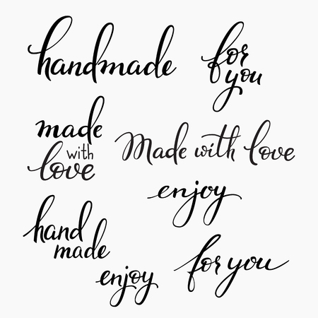 handmade: Handmade lettering set. Calligraphy postcard or label graphic design lettering element. Hand written calligraphy style signs. Hand craft decoration element. Handmade. For you. Made with love. Enjoy.
