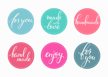 banner craft: Handmade sticker lettering set. Calligraphy label graphic design lettering element. Hand written calligraphy style signs. Hand craft decoration element. Handmade. For you. Made with love. Enjoy.