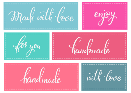made: Handmade sticker lettering set. Calligraphy label graphic design lettering element. Hand written calligraphy style signs. Hand craft decoration element. Handmade. For you. Made with love. Enjoy.