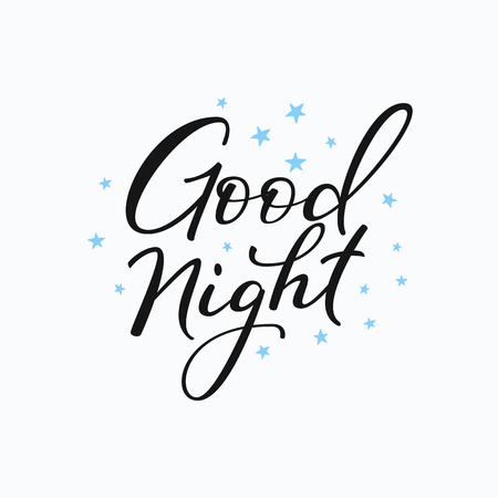 good evening: Good night lettering. Motivational quote. Sweet cute inspiration typography. Calligraphy postcard poster graphic design lettering element. Hand written sign. Stars decoration element. Illustration