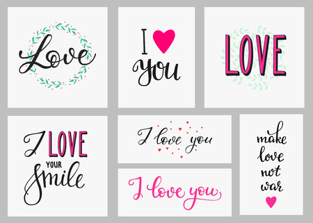 make love: Romantic love inspiration lettering set. Calligraphy postcard or poster graphic design lettering element. Hand written calligraphy style romantic postcard. Love you Make love not war I love your smile