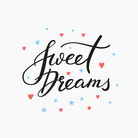 Good night lettering. Motivational quote. Sweet cute inspiration typography. Calligraphy postcard poster graphic design lettering element. Hand written sign. Stars decoration element. Sweet dreams