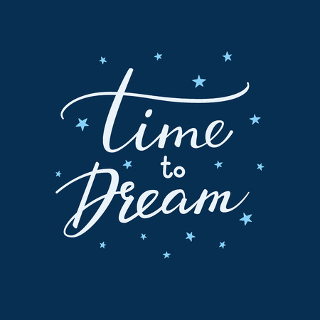 Good night lettering. Motivational quote. Sweet cute inspiration typography. Calligraphy postcard poster graphic design lettering element. Hand written sign. Stars decoration element. Time to dream