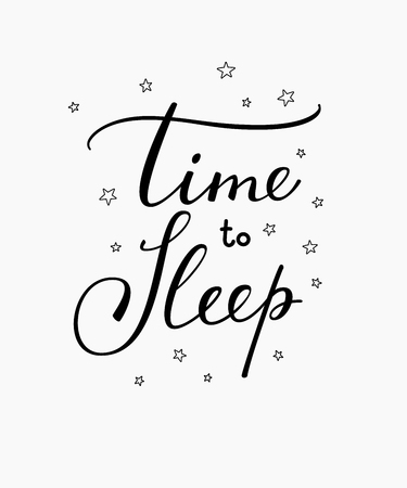 Good night lettering. Motivational quote. Sweet cute inspiration typography. Calligraphy postcard poster graphic design lettering element. Hand written sign. Stars decoration element. Time to Sleep Illustration