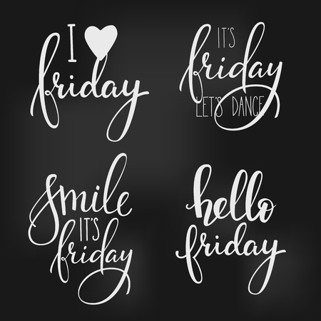 Hello Friday lettering. Motivational quote. Weekend inspiration typography. Calligraphy postcard poster graphic design lettering element. Hand written sign. Decoration element. Its Friday lets dance.
