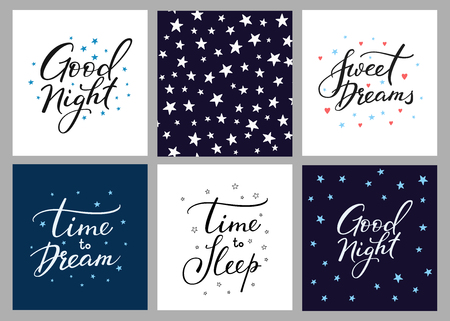 Good night lettering postcard set. Motivational quote. Sweet cute inspiration typography. Calligraphy postcard poster graphic design pattern element. Hand written sign. Stars decoration element Vectores