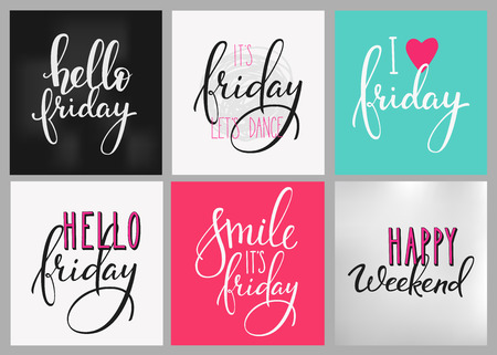 Hello Friday lettering postcard set. Motivational quote. Weekend inspiration typography. Calligraphy postcard poster graphic design lettering element Hand written sign Decoration element Happy weekend