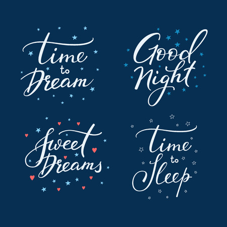 cute graphic: Good night lettering postcard set. Motivational quote. Sweet cute inspiration typography. Calligraphy postcard poster graphic design pattern element. Hand written sign. Stars decoration element Illustration