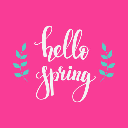 spring time: Hello spring lettering. Calligraphy spring postcard or poster graphic design lettering element. Hand written calligraphy style spring postcard. Spring time. Cute simple vector brush calligraphy.
