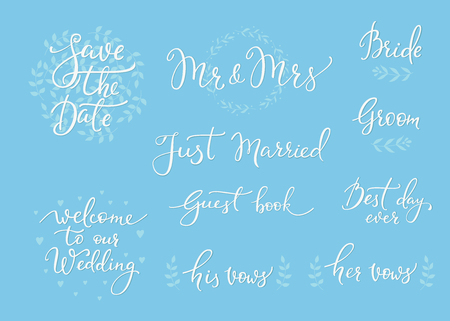 mr and mrs: Romantic Wedding lettering decor. Herbal frame. Calligraphy postcard or poster graphic design lettering element. Hand written wedding day romantic postcard decoration. Save the date photo overlay