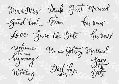 mrs: Romantic Wedding lettering decor. Herbal pattern. Calligraphy postcard or poster graphic design lettering element. Hand written wedding day romantic postcard decoration. Save the date photo overlay Illustration