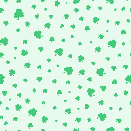 shamrock seamless: Seamless green clover pattern background. Cute vector simple shamrock leafs pattern for postcard and poster design. Pattern for wrapping paper, hand drawn style backgrounds. St Patricks day background