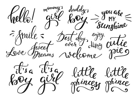 welcome baby: Lettering photography family overlay set. Motivational quote. Sweet cute inspiration typography. Calligraphy postcard poster photo graphic design element. Hand written sign. Baby photo album element