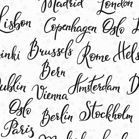 Lettering seamless pattern europe capitals names set. Sweet cute inspiration typography. Calligraphy postcard poster photo graphic design element. Hand written sign. Rome Amsterdam Oslo Lisbon Vienna